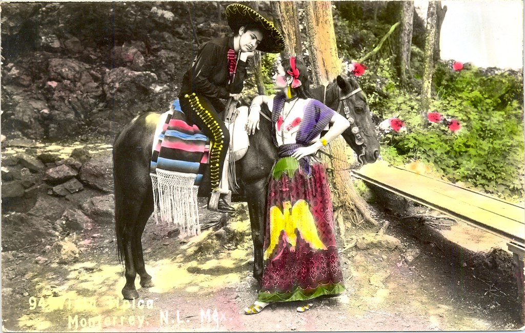 Mexican Postcard China Poblana Charro Teyacapan Tags Tarjetas Postcards Antique Vintage