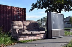 Big TV (stephen trinder) Tags: stephentrinder stephentrinderphotography christchurch christchurchnewzealand aotearoa nz newzealand kiwi landscape couch sofa settee tv junk rubbish dumped path discarded used secondhand thecouchesofchristchurch