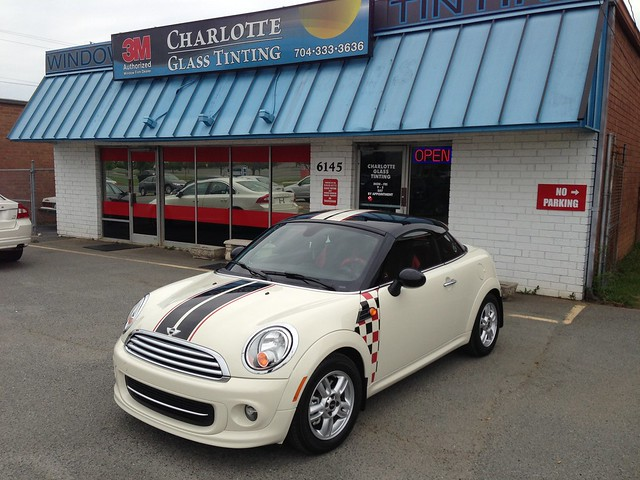 Mini Cooper Coupe - Sport Stripes with Checkered Side Decals - Black Gloss with Dual Red Pinstripes