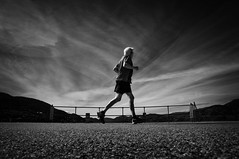 I'm still running (. Jianwei .) Tags: bw cloud mood candid wideangle running penticton lowangle a55 jianwei skahapark kemily