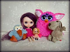 Goodies that the postman delivered in the past week (Janet (citrusacid)) Tags: pink toys purple plush dresses blythe nici furby petite sigikid