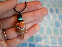 Jonathan the Gingerbread man (Pig & Pumpkin) Tags: christmas winter sculpture cute necklace handmade originalart gingerbread charm tiny tophat paperclay airdryclay megandowning