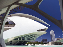 Valencia's Ciudad de las Artes y las Ciensias, Spain - the Palau de les Arts 3 (Jon Bower) Tags: city blue sky geometric glass architecture modern spain arts azure ciudad cloudless artes palau sciences agora concret hemisferic aluminim valenica umbracle modernistic ciensias meseu