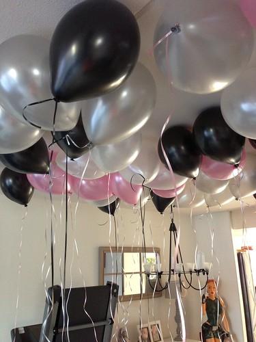 Heliumballonnen Ballonnenplafond Zwart, Wit, Zilver, Roze