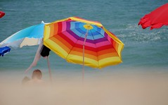 Bright Parasol (Snowdrop500) Tags: ocean sea summer sky holiday beach portugal water sand europe atlantic algarve atlanticocean sunbathing albufeira parasols sunlounger umberellas