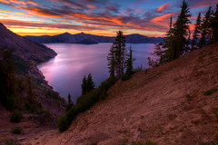 Sunset from Sun Notch (absencesix) Tags: travel blue trees sunset red summer sky orange plants lake nature colors beauty weather clouds oregon landscape seasons purple unitedstates shoreline september northamerica brightcolors portfolio pinetrees hdr locations 18mm locale craterlakenationalpark iso50 sunnotch 2013 500px exif:focal_length=18mm geo:state=oregon exif:iso_speed=50 1424mmf28 hasmetastyletag hascameratype naturallocale adjectivesfeelingdescription haslenstype selfrating4stars unknownflash afsnikkor1424mmf28g 14secatf11 geo:countrys=unitedstates exif:lens=140240mmf28 exif:aperture=11 subjectdistanceunknown unknownmode nikond800e exif:model=nikond800e camera:model=nikond800e 2013travel september32013 craterlake0902201309062013 geo:city=craterlakenationalpark craterlakenationalparkoregonunitedstates geo:lon=122097618 geo:lat=4290242 42549n122551w