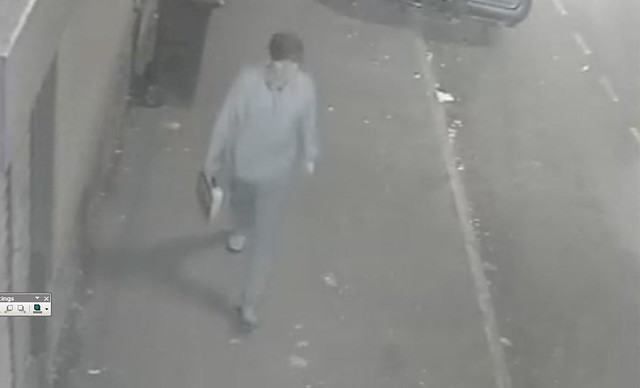 CCTV - Pavlo Lapshyn walks towards Walsall mosque with bomb