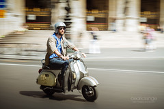 Dolce Vita in Paris (Cedpics) Tags: road summer paris france canon scooter route motorbike driver panning piaggio fil placedelopera thephotographyblog