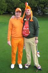 003 - Organiser Neville Wootton with eventual Best Dressed Winner Neil Paull (Neville Wootton Photography) Tags: golf canonixus70 2011golfseason stmelliongolfclub nevillewootton neilpaull mensgolfsection redhedzrollupxmastrophy