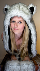 Shelbie 4 (Richard Amor Allan) Tags: portrait hat pose model eyes wolf flash fluffy indoor pale led blonde paleskin flashgun fluffyhat wolfhat