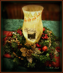 Holiday Hurricane Globe (MissyPenny) Tags: lighting christmas red holiday green art collage artwork candle craft centerpiece decor tabletop holidaydecor decoupage hurricaneglobe