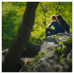 In Love - Central Park - 2010 (SJL) Tags: newyorkcity trees light painterly couple rocks centralpark lovers canonpowershots90