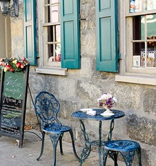 Tea Time (Christina Flood Photography) Tags: flowers stone vintage outdoors tea furniture tables