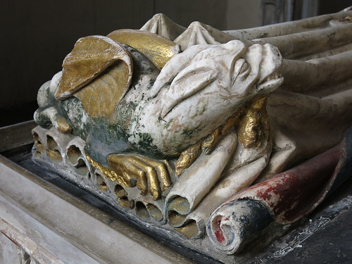 At Lady Bardolph's feet lies a wyvern, probably originally all gilded, the Bardolph Chapel, the Church of St Mary, Dennington, Suffolk, England