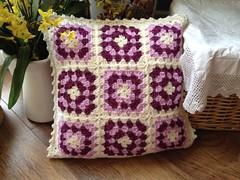 Raspberry ripple (EirawenHandmade) Tags: crochet granny cushion grannysquare joinasyougo