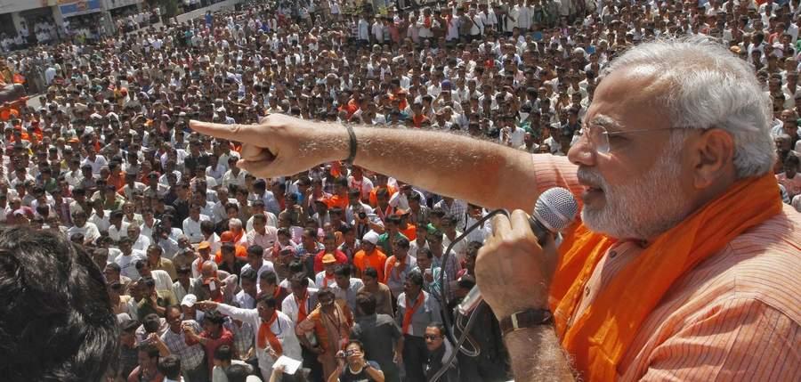 Нарендра Моди на предвыборном митинге в Гуджарате
