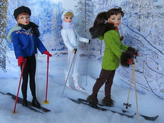 (13) Snow Bunnies (Foxy Belle) Tags: trees winter snow ski scale fashion vintage miniature doll skiing cross country barbie 16 poles miss suzette diorama uneeda