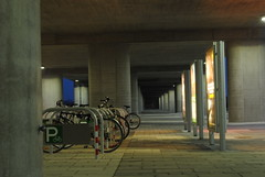 Park & Ride (Knobbinator) Tags: vienna longexposure blue light sunset people blur bike architecture underground subway u2 evening construction nikon exposure hour ubahn belichtung seestadt