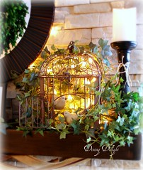 Spring Birdcage on Mantel (dining delight) Tags: bunny birdcage fireplace ivy lantern candlesticks minilights heisrisen boxwoodwreath blackroundmirror |springmantel