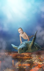 Sweet Dreams (Nora Swann Photography) Tags: red child photography prayforthechildren warzone peace fantasy compositephotography seaturtle flying underthesea dreams boy