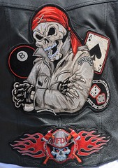 2017 Defrost Your Nuts Motorcycle Ride 5753 (rabidscottsman) Tags: scotthendersonphotography skull fd firedepartment axe crossedaxe fire bones skeleton patch leather leatherjacket dilligap aceofspades 8ball eightball dice lucky7 playingcard nikon nikond7100 tamron tamron18270 18270 saturday weekend defrostyournuts smile crossedarms socialmedia usa unitedstatesofamerica travel firefighter event day98 bandana flames crossbones