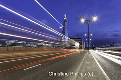 Last shot before holiday! London Shard with light streams in blue hour (Christine's Phillips (Christine's observations)) Tags: london londonbridge towerbridge christinephillips lightstreams lighttrails glow bluehour business speed commute travel explore interesting beautiful londonyoubeauty