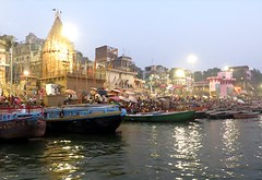 Dawn in Varanasi (Mary Faith.) Tags: varanasi benares ganges holy religion spirit landscape panorama reflections celebration festivities boats tourism