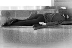 sweet dreams with pierre cardin ! (Günther Bayerle) Tags: night man sleep airport frankfurt germany