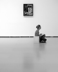 Sitter (Dave_Davies) Tags: bilbao spain museum guggenheim building art painting person woman artist drawing black white candid