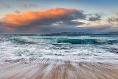 Traigh Bheag (The Small Beach), Isle of Harris, Scotland (MelvinNicholsonPhotography) Tags: traighbheag isleofharris scotland outerhebrides water waves skies clouds orange longexposure