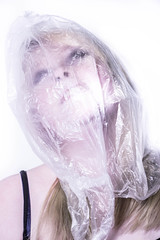 Suffocation (Caitlin Chan) Tags: plastic pollution environment portraits portrait bag plasticbag environmental light white studio shoot