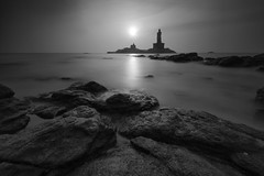 Sunrise at Kanyakumari (Ravikanth K) Tags: 500px sunrise kanyakumari beach rocks longexposure seascape vivekananda rock memorial thiruvalluvar statue monochrome outdoor india tamilnadu triveni sangam bayofbengal arabiansea sea morning calm tranquil peaceful nopeople
