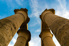 Pillars of Luxor Temple (Younis-001) Tags: blue yellow egypt temple pillars luxor ancient