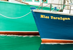 Miss TaraLynn (Karen_Chappell) Tags: boat blue green water reflection nfld newfoundland stjohns fishing fishingboat two paint painted canada atlanticcanada atlantic harbour boats 2 avalonpeninsula orange white