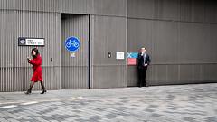 Cigarettes, Milk And Coffee (Sean Batten) Tags: london england unitedkingdom gb milkstreet streetphotography street red city urban nikon df 50mm smoker smoking coffee people grey cityoflondon