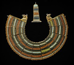 Collar of semi-precious stones with falcon-headed terminals found on the mummy of King Tutankhamun New Kingdom 18th Dynasty Egypt 1332-1323 BCE (mharrsch) Tags: falcon horus gold pharaoh king ruler tutankhamun burial tomb funerary 18thdynasty newkingdom egypt 14thcenturybce ancient discoveryofkingtut exhibit newyork mharrsch premierexhibits collar