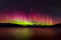Ruataniwha Aurora (Mark Hannah Photography) Tags: aurora auroraaustralisnight nightscape southernlights astronomy lake dark twizel canterbury newzealand stars astrophotography colours colors evening epic landscape water pink green