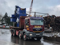 19 tonne machine being delivered, transhipped onto our MAN, reversed up yard and tipped off for processing (Mark Schofield @ JB Schofield) Tags: man eight wheeler rolonof renault machine tool scrap cast iron huddersfield yorshire schofield smith crawler crane jib rope lift heavy hook loader metal processors merchants scrapyard tip load risky transport road
