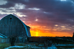 Winter's Last Gasp (tquist24) Tags: goshen hdr indiana nikon nikond5300 barn clouds evening farm geotagged orange rural rustic sky snow sunset winter unitedstates