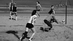 beach ball fun 016 (byronv2) Tags: portobello beach sea northsea coast coastal sand shore water river riverforth rnbforth firthofforth sunny sunlight sunshine spring sport volleyball beachvolleyball ball woman girl shorts legs active fit game playing blackandwhite blackwhite bw monochrome edinburgh edimbourg scotland