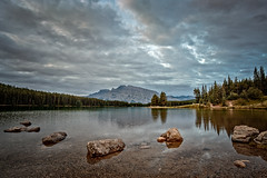Alberta Dreaming (Dan Fleury) Tags: rock stone cloud sky reflection landscape travel canada banff park parking mountains mountaineer rockies lake cans2s alberta improvementdistrictno9 ca