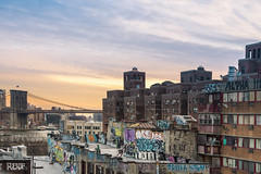 NYC ([~Bryan~]) Tags: newyorkcity nyc brooklynbridge housing manhattan city urban cityscape sunset roof graffiti