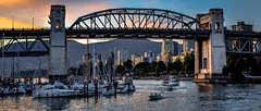 Water under the bridge (Christie : Colour & Light Collection) Tags: falsecreek vancouver bc canada boats burrard bridge burrardbridge burrardstreetbridge evening boat sailboat ngc
