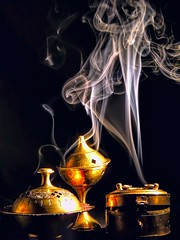Smoke Trilogy (clarkcg photography) Tags: aroma scent incense smoke brass container light mondayfreetheme7dwf 7dwf