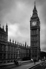A little bit of London. (aquanout) Tags: blackandwhite monochrome parliament bigben london westminster moody people bridge