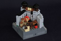 Summer Joust Prize: Faerdham Hall (soccersnyderi) Tags: lego moc creation castle micro wall fortress town city houses water rockwork cliff tree design