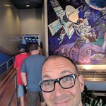 Selfie with Spaceship Earth mural, Epcot, Walt Disney World, Orlando, Florida, USA thumbnail