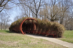 Overgrowth (Jake (Studio 9265)) Tags: mill race park columbus indiana in usa united states america nikon d5000 march 2017 outside spring tunnel red metal overgrowth plant trail chair seat covered modern