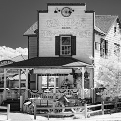 Est. 1875 (Ed Rosack) Tags: othermanmade usa blackandwhite railing tree porch infrared buildingandarchitecture wagon store ©edrosack sign antiquesandcollectibles staugustine florida architecture bw ir buildings structures