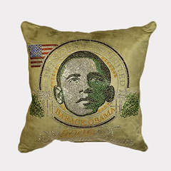 "Barack Obama ""Yes We Can"" Crystal Pavé Olive Pillow (TALLAGHnow) Tags: crystal olive"